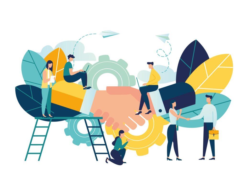 Illustration de collaborateurs travaillant, serrage de mains, échelles suggérant le boost d'activité grâce à des aides