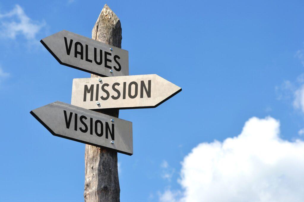 panneau valeurs, mission, vision